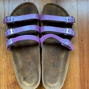 Birkenstock Womens Sandals, Pink, 3 straps, sze 38